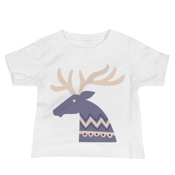 Baby's Deer Crew Neck T-shirt in Folklore Art Style - White