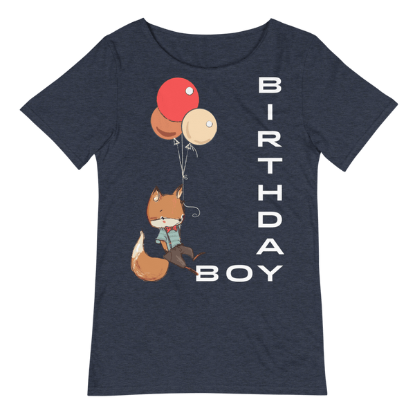 Men's Birthday Boy Relaxed Fit Raw Neck Tee with Cute Fox - Heather Navy