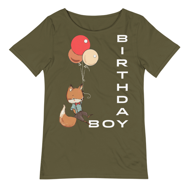Men's Birthday Boy Relaxed Fit Raw Neck Tee with Cute Fox - Military Green