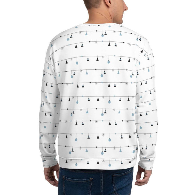 Men's Christmas Decoration in Horizontal Stripes Crew Neck Sweatshirt - Back