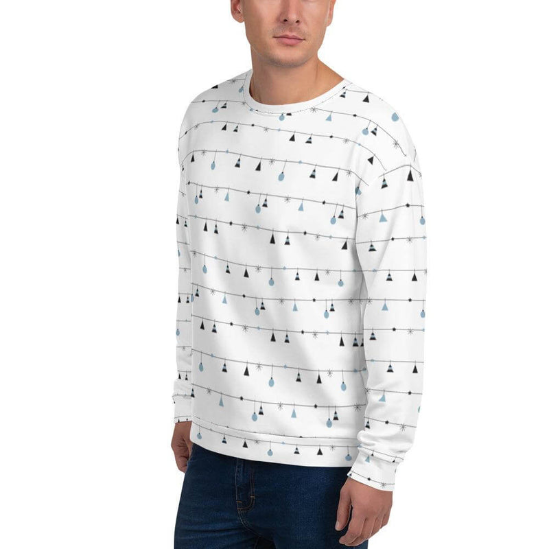 Men's Christmas Decoration in Horizontal Stripes Crew Neck Sweatshirt - Left