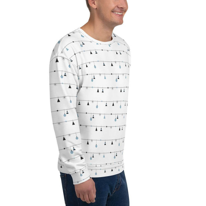 Men's Christmas Decoration in Horizontal Stripes Crew Neck Sweatshirt - Right