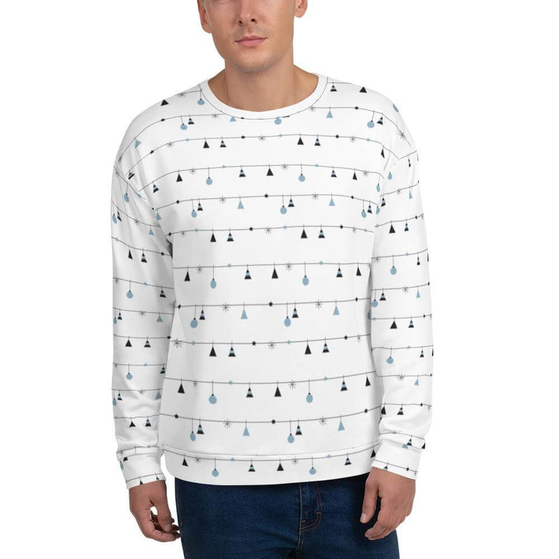 Men's Christmas Decoration in Horizontal Stripes Crew Neck Sweatshirt