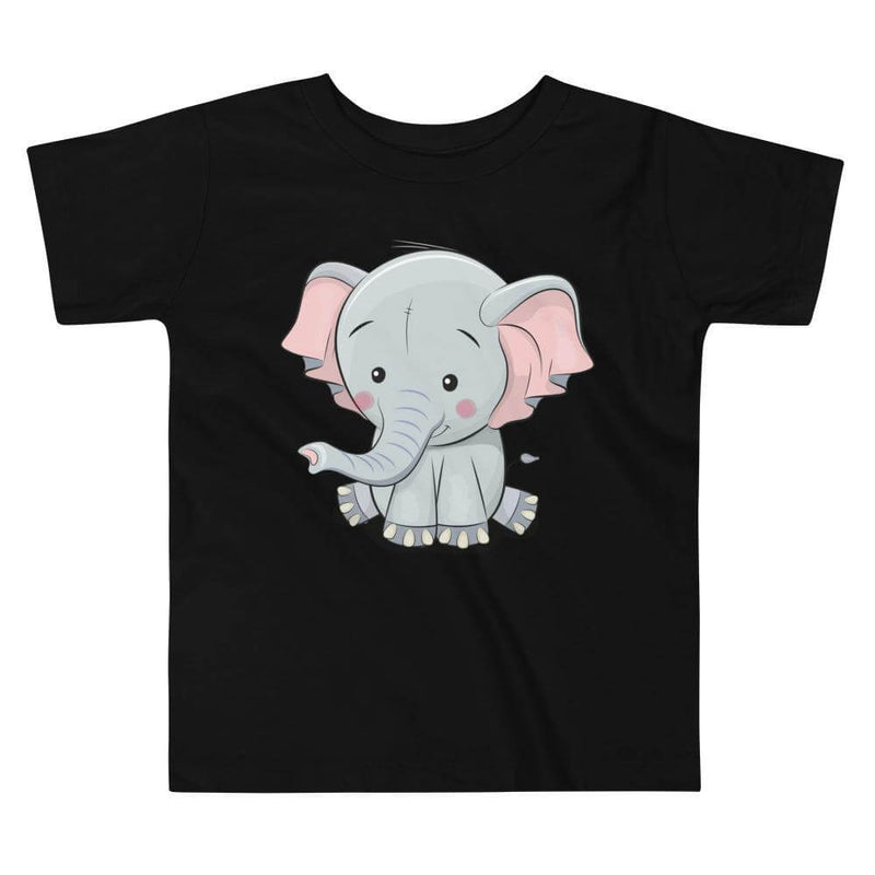 Toddler's Cute and Cuddly Elephant Crew Neck T-shirt - Black