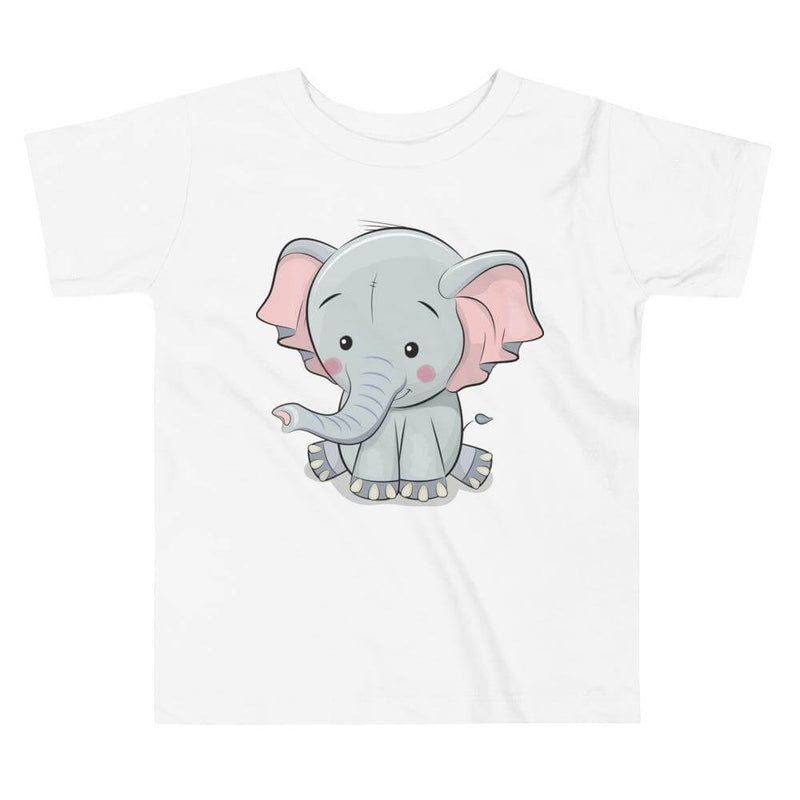 Toddler's Cute and Cuddly Elephant Crew Neck T-shirt - White