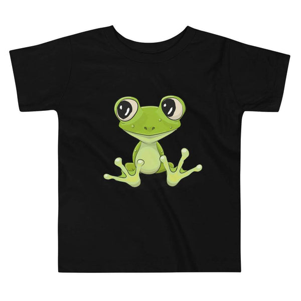 Toddler's Cute and Cuddly Frog Crew Neck T-shirt - Black