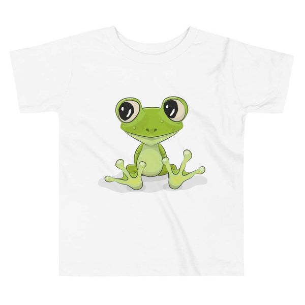 Toddler's Cute and Cuddly Frog Crew Neck T-shirt - White