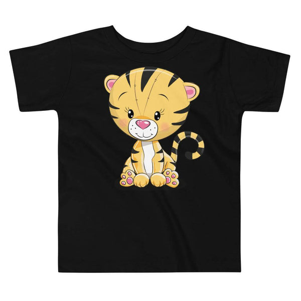 Toddler's Cute and Cuddly Tiger Cub Crew Neck T-shirt - Black