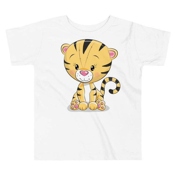 Toddler's Cute and Cuddly Tiger Cub Crew Neck T-shirt - White
