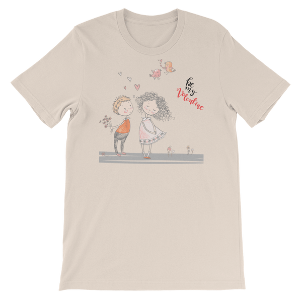 Be My Valentine Jersey Crew Neck T-shirt in Sketch Art - Soft Cream