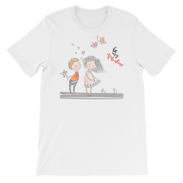 Be My Valentine Jersey Crew Neck T-shirt in Sketch Art - White