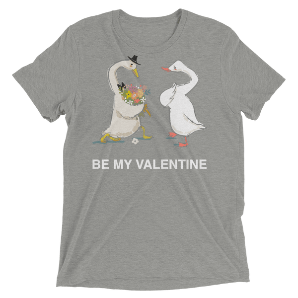 Be My Valentine Soft Triblend Crew T-shirt with Cute Ducks - Athletic Grey Triblend