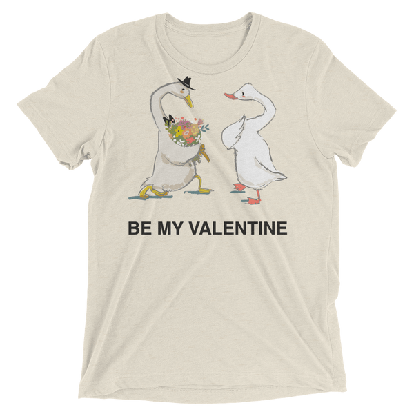 Be My Valentine Soft Triblend Crew T-shirt with Cute Ducks - Oatmeal Triblend