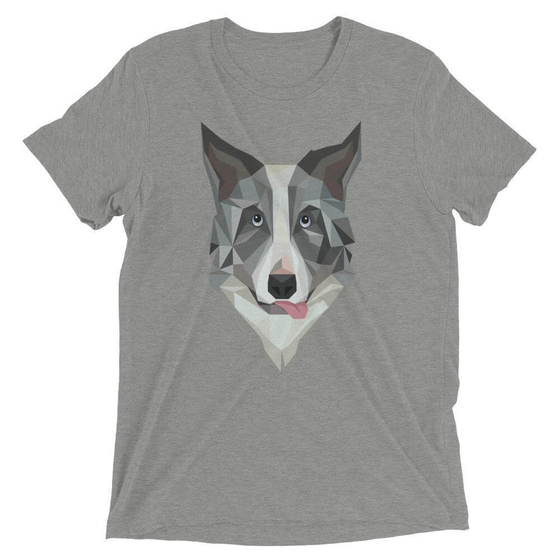 Border Collie in Polygon Art Soft Triblend Crew Neck T-shirt - Athletic Grey Triblend