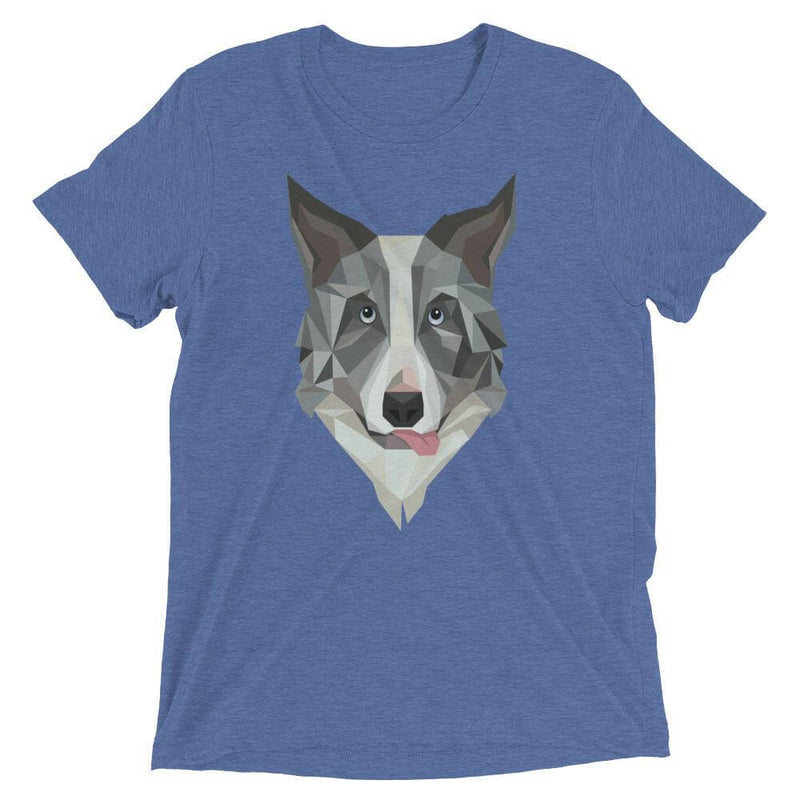 Border Collie in Polygon Art Soft Triblend Crew Neck T-shirt - Blue Triblend