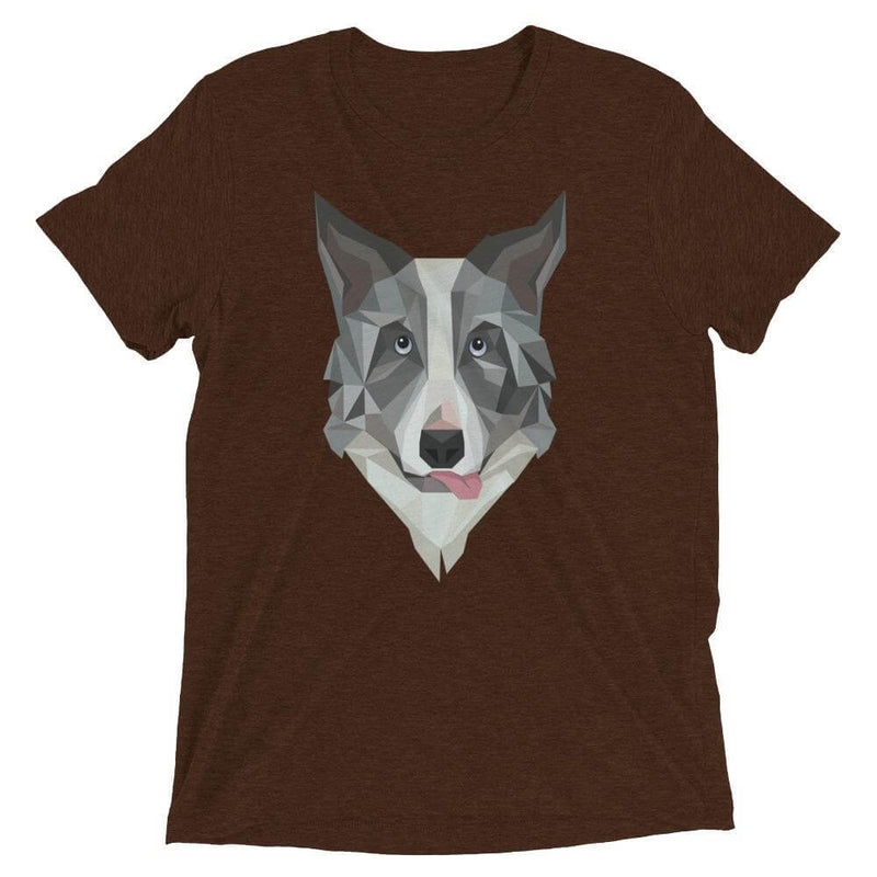 Border Collie in Polygon Art Soft Triblend Crew Neck T-shirt - Brown Triblend