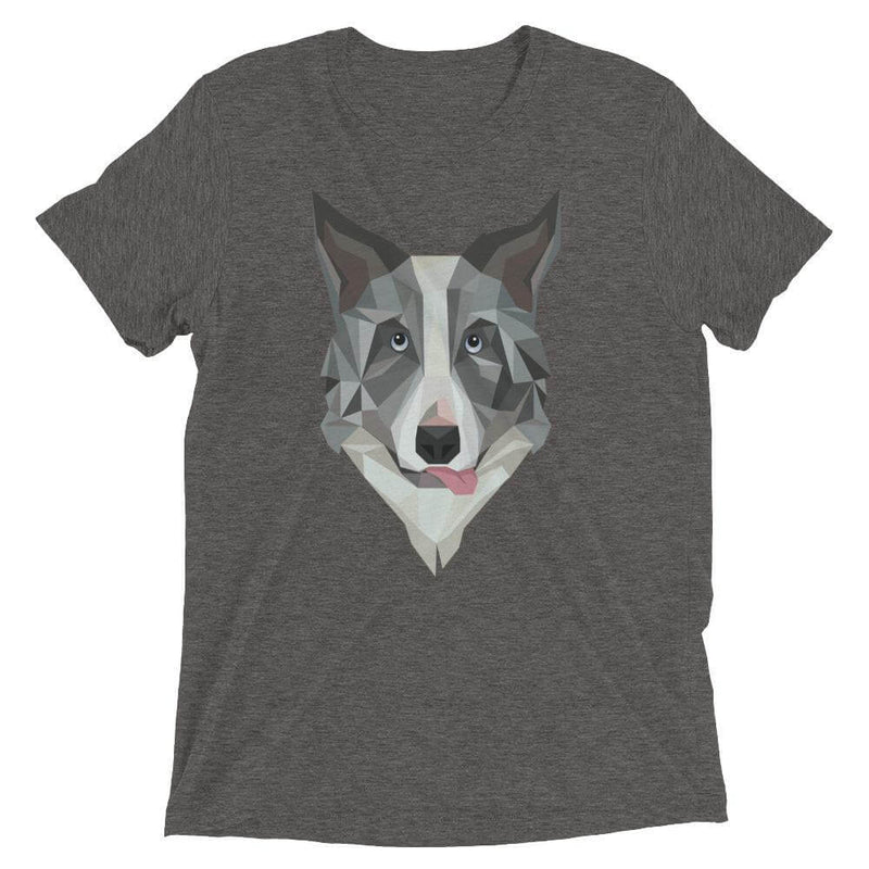 Border Collie in Polygon Art Soft Triblend Crew Neck T-shirt - Grey Triblend