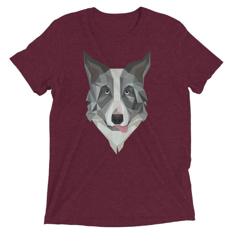 Border Collie in Polygon Art Soft Triblend Crew Neck T-shirt - Maroon Triblend