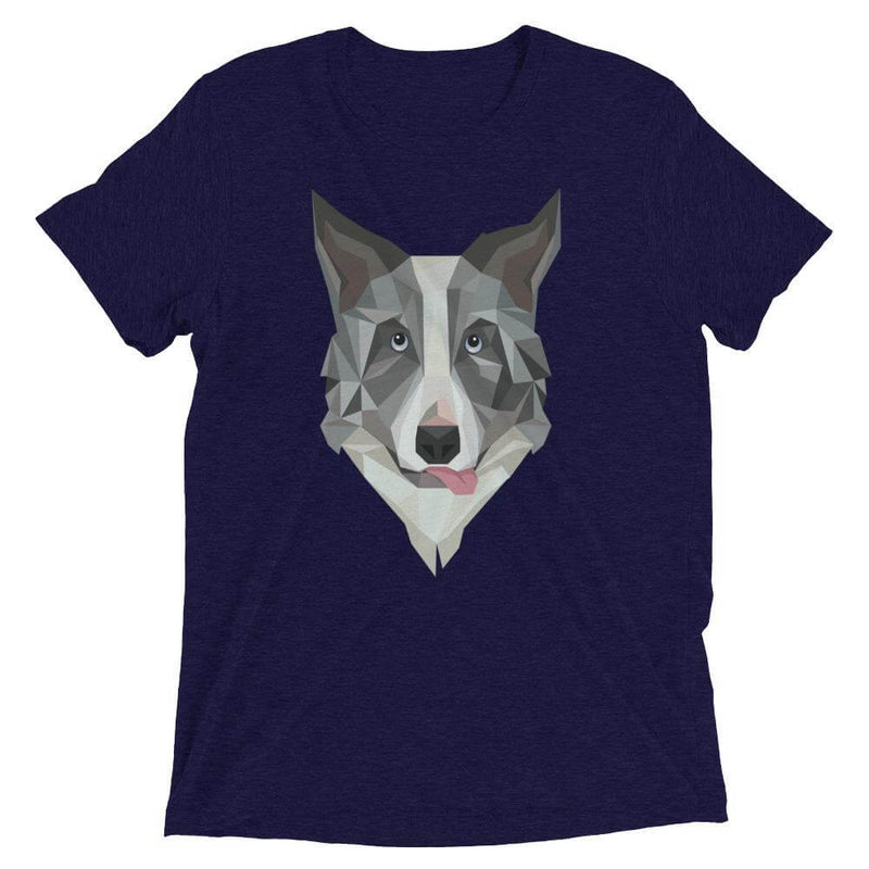 Border Collie in Polygon Art Soft Triblend Crew Neck T-shirt - Navy Triblend