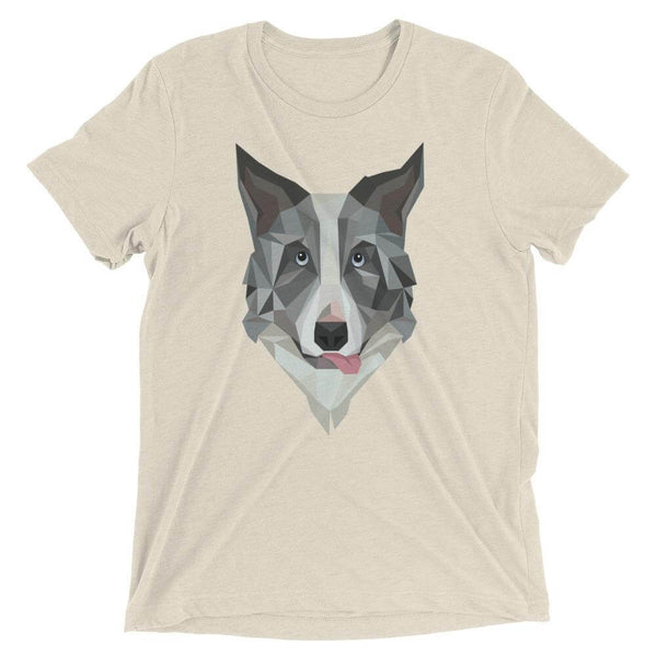 Border Collie in Polygon Art Soft Triblend Crew Neck T-shirt - Oatmeal Triblend