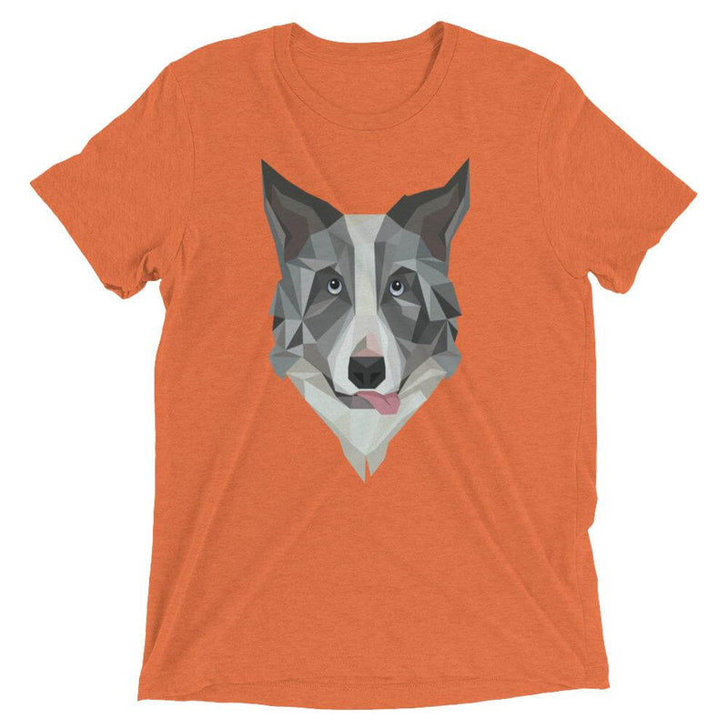 Border Collie in Polygon Art Soft Triblend Crew Neck T-shirt - Orange Triblend