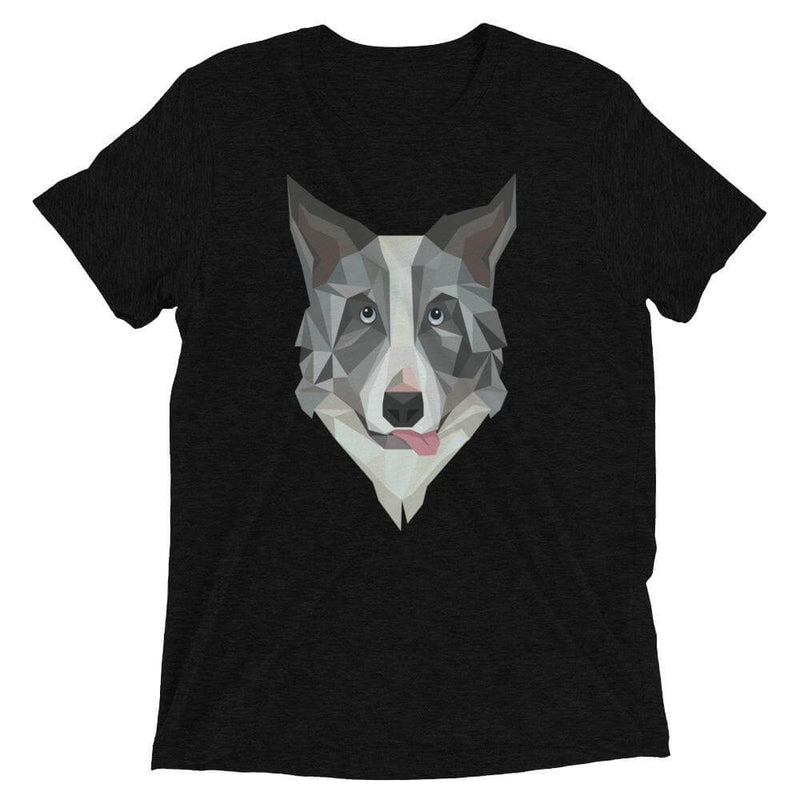 Border Collie in Polygon Art Soft Triblend Crew Neck T-shirt - Solid Black Triblend