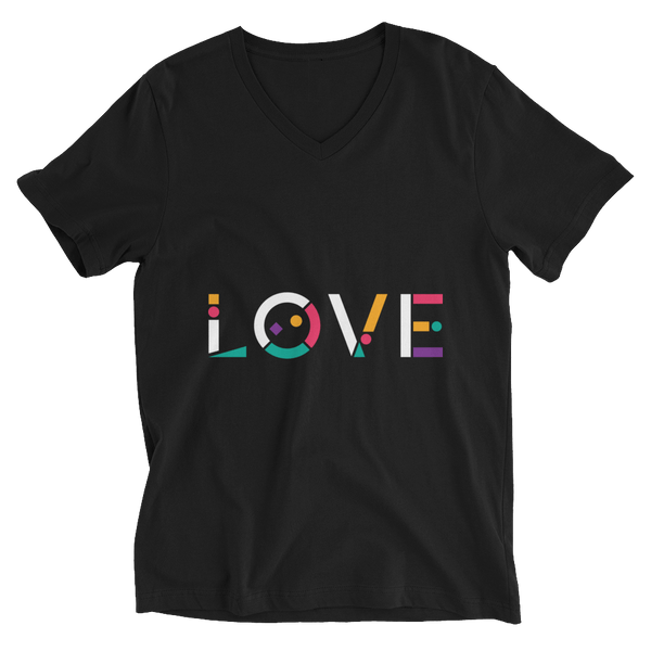 Colorful Love V-Neck T-shirt in Geometric Art