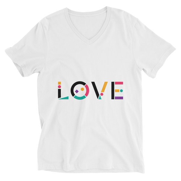 Colorful Love V-Neck T-shirt in Geometric Art - White