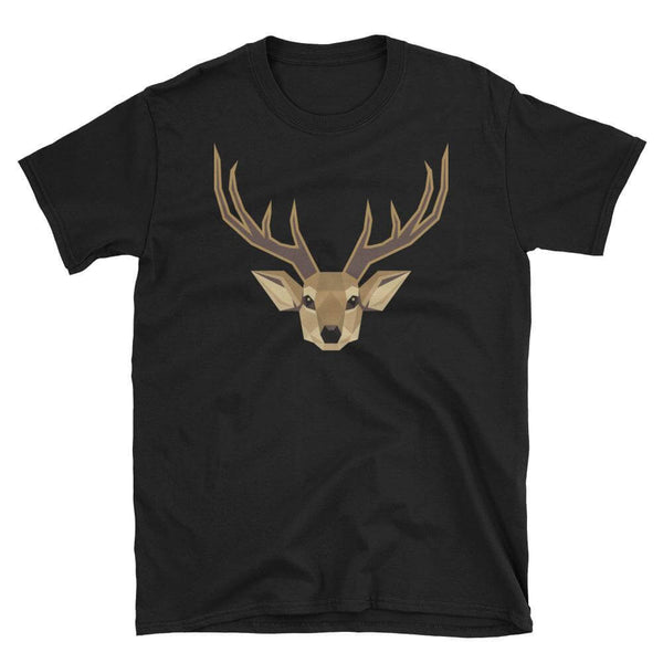 Deer in Geometric Art Cotton Crew Neck T-shirt - Black