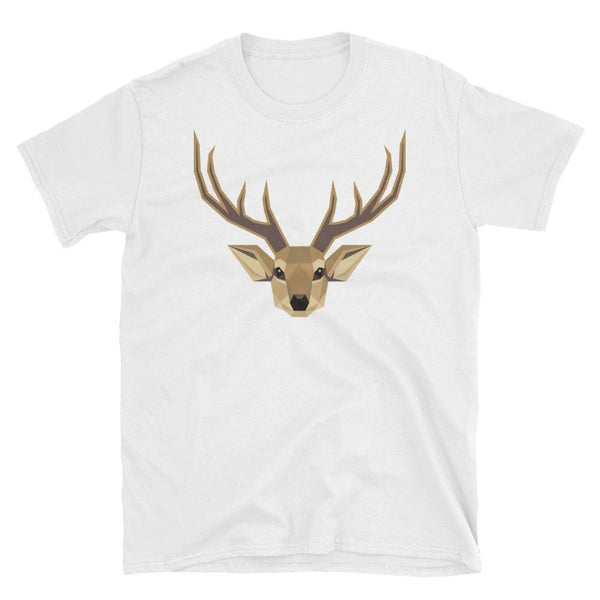 Deer in Geometric Art Cotton Crew Neck T-shirt - White