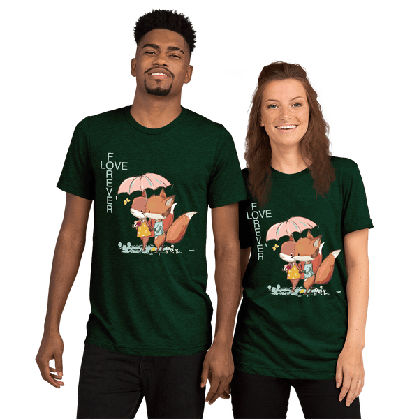 Love Forever Soft Triblend Crew Neck T-shirt with Foxes - Emerald Triblend
