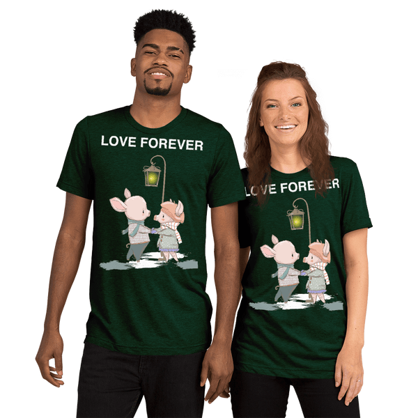Love Forever Soft Triblend Crew Neck T-shirt with Piggy - Emerald Triblend