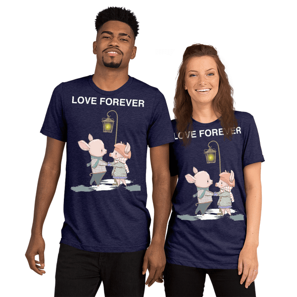 Love Forever Soft Triblend Crew Neck T-shirt with Piggy - Navy Triblend