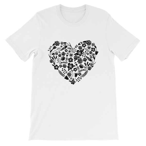 Love Heart Floral Papel Picado Jersey Crew Neck T-shirt - White
