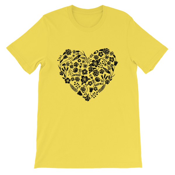 Love Heart Floral Papel Picado Jersey Crew Neck T-shirt - Yellow