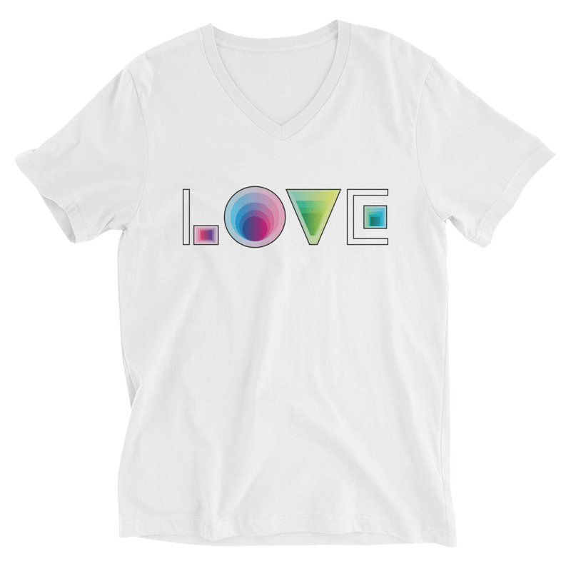 LOVE V-Neck T-shirt in Futuristic Vibe - White