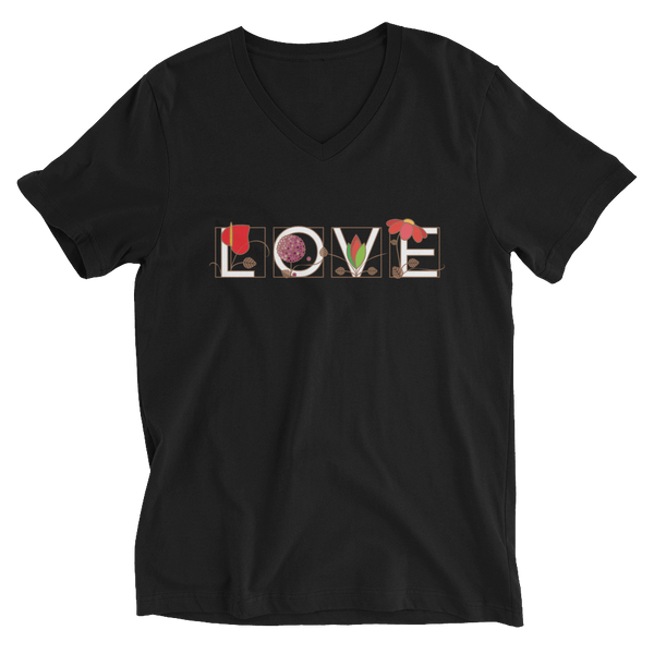 LOVE V-Neck T-shirt in Ornamental Style - Black