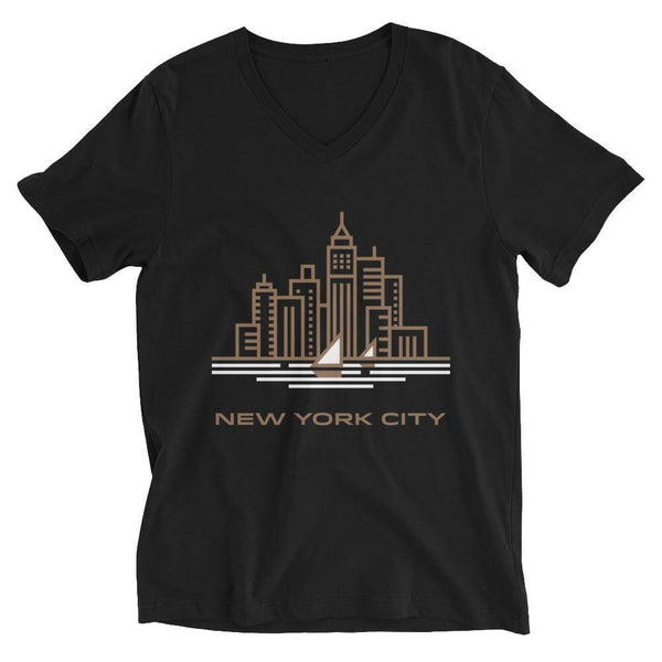 New York City in Sandal V-Neck T-shirt - Black