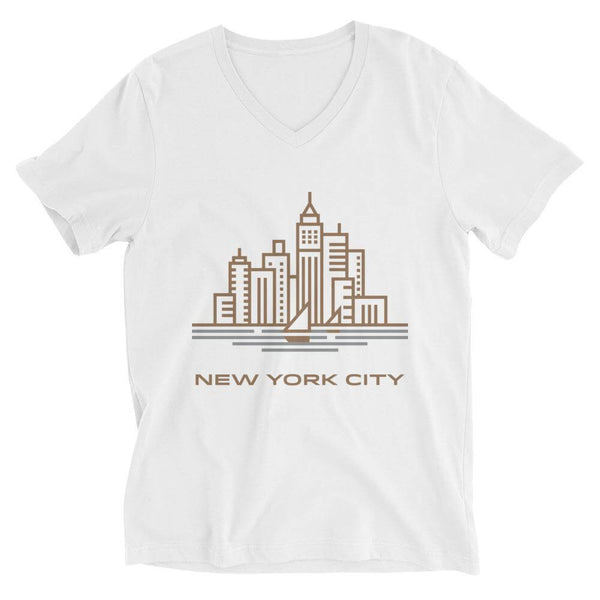 New York City in Sandal V-Neck T-shirt - White