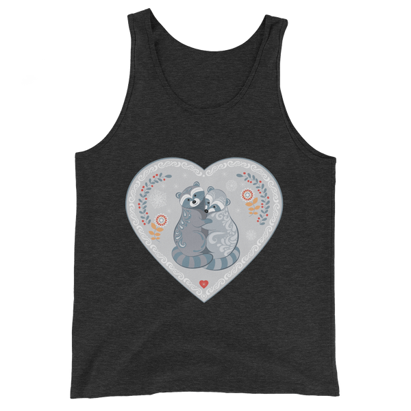 Raccoons Tank Top inspiring Love - Charcoal-black Triblend