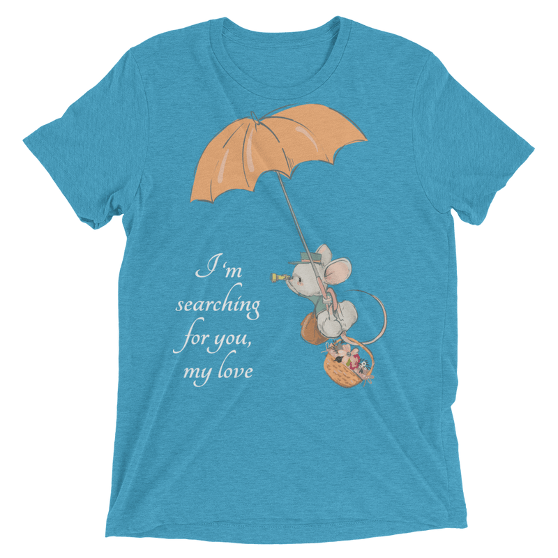 Searching for Love Soft Triblend Crew Tee with Cute Mouse - Aqua Triblend