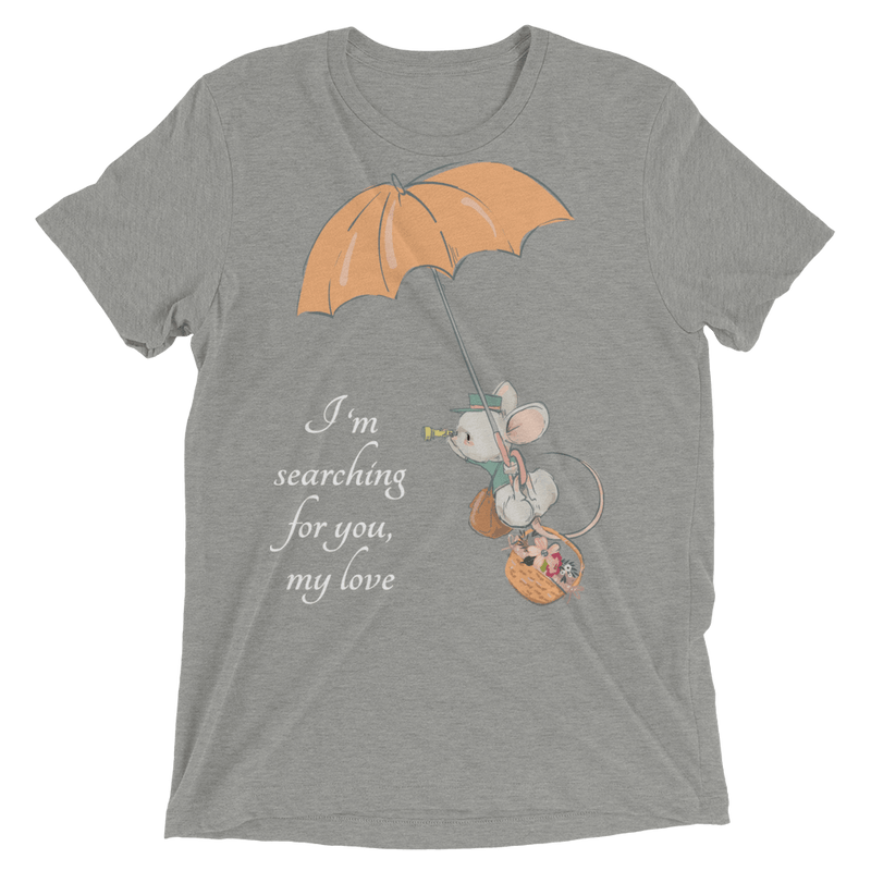 Searching for Love Soft Triblend Crew Tee with Cute Mouse - Athletic Grey Triblend