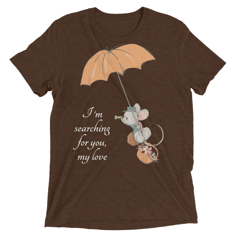 Searching for Love Soft Triblend Crew Tee with Cute Mouse - Brown Triblend