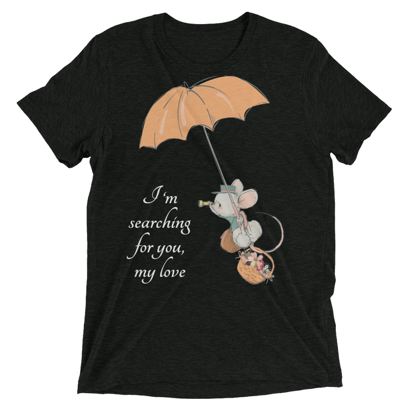 Searching for Love Soft Triblend Crew Tee with Cute Mouse - Charcoal-Black Triblend