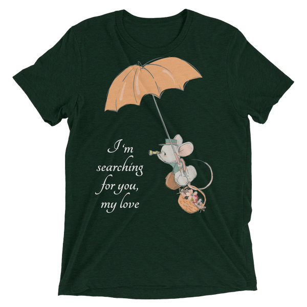 Searching for Love Soft Triblend Crew Tee with Cute Mouse - Emerald Triblend