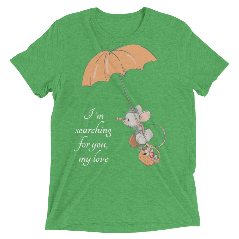 Searching for Love Soft Triblend Crew Tee with Cute Mouse - Green Triblend