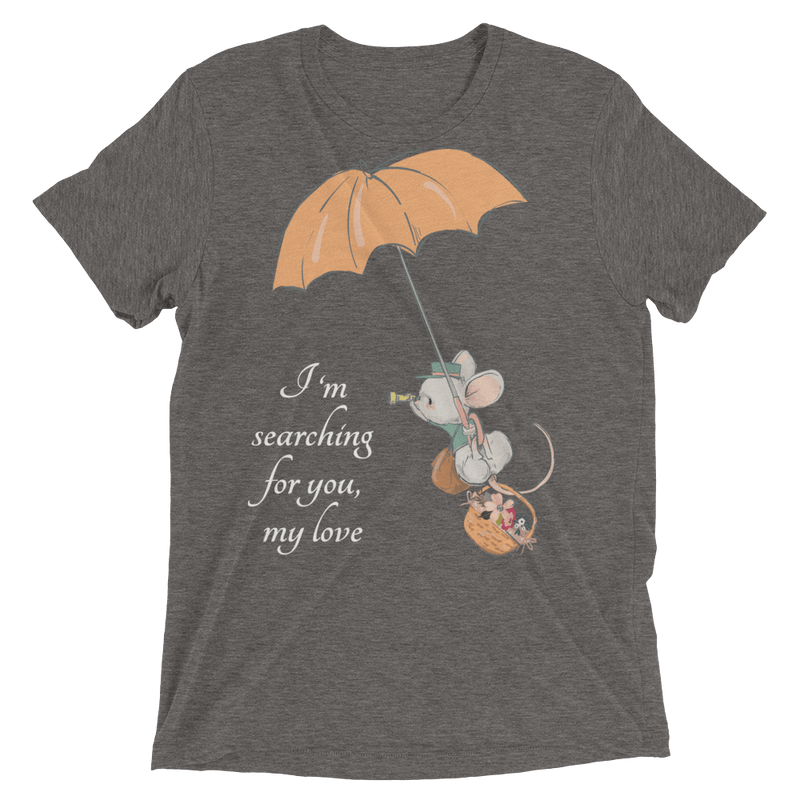 Searching for Love Soft Triblend Crew Tee with Cute Mouse - Grey Triblend
