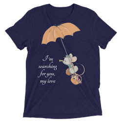 Searching for Love Soft Triblend Crew Tee with Cute Mouse - Navy Triblend