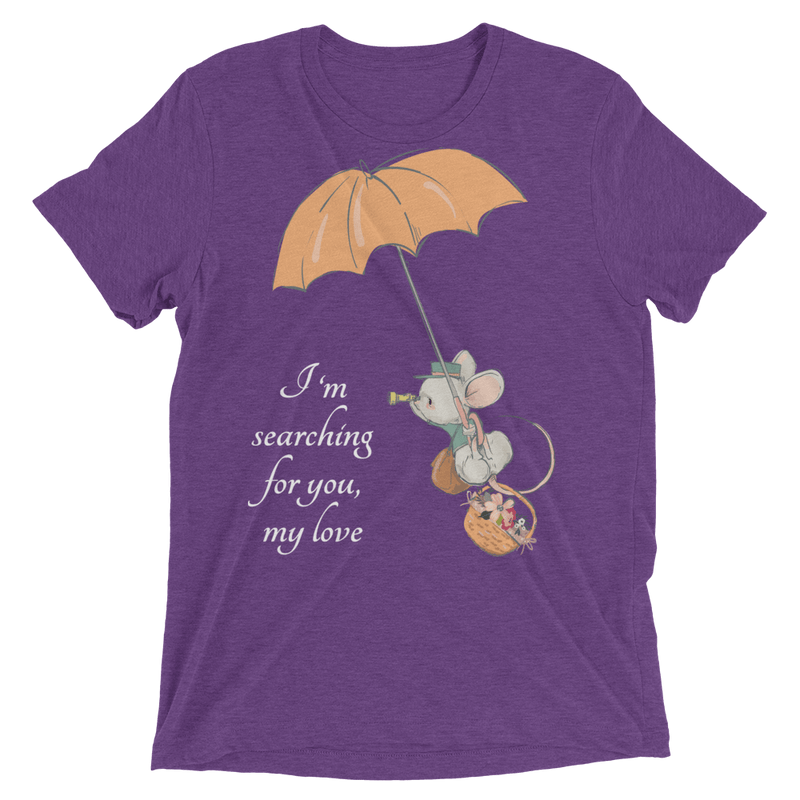 Searching for Love Soft Triblend Crew Tee with Cute Mouse - Purple Triblend