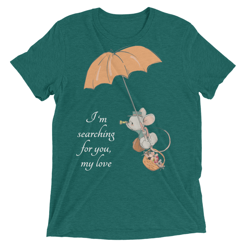 Searching for Love Soft Triblend Crew Tee with Cute Mouse - Teal Triblend